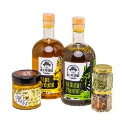 Geschenkkoffer Öl, Senf, Salz Mix